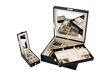 Jewelry Box Organizer - Black Leather, Mirror with 2 trays Women, Teens, Girls, for Earring Ring Necklace Bracelet - Colored Feather Earrings