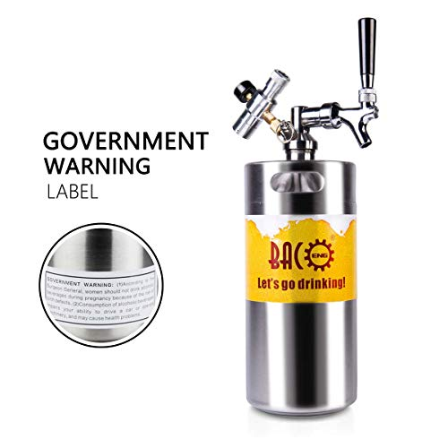 BACOENG Tiptop 128 Ounce Pressurized Keg Growler wHeavy Duty CO2 Secondary Regulator and Flow Control Faucet