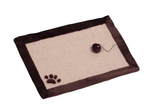 Nobby 63031-87 Kratzmatte für Katzen, beige-braun, Leinenoptik und Plüschrand