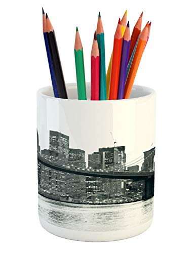 Ambesonne Modern Pencil Pen Holder, Brooklyn Bridge Sunset with Manhattan American New York City Famous Town Image, Ceramic Pencil Holder for Desk Office Accessory, 3.6