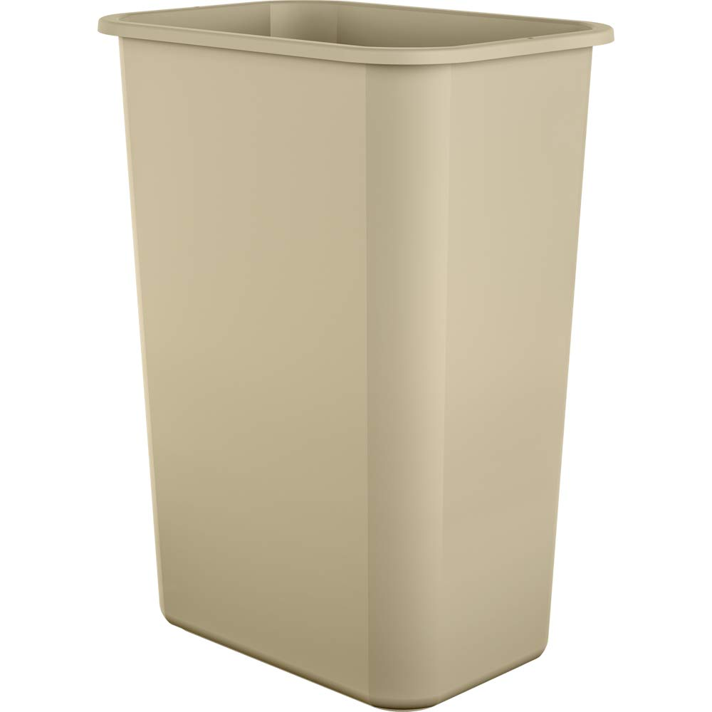 AmazonBasics 10 Gallon Plastic Commercial Trash Waste Basket, Beige, 12-Pack