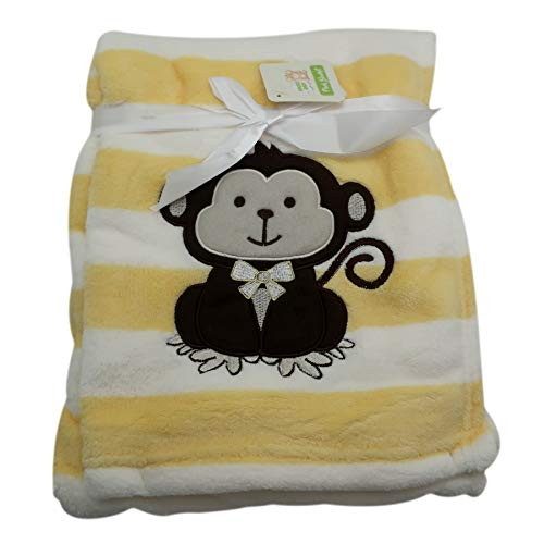 Baby Blanket w/Embroidery Monkey Applique | Perfect for Infant & Toddlers, Boys & Girl, Extra Soft 30 x 40 in. | Ideal for Travel, Stroller, Nursery (Yellow) ()