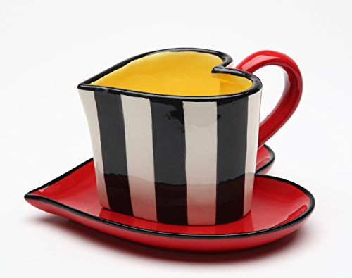 Cosmos Gifts 62369 Fine Ceramic Black and White Striped Heart Shape Cup and Saucer, 5-1/4