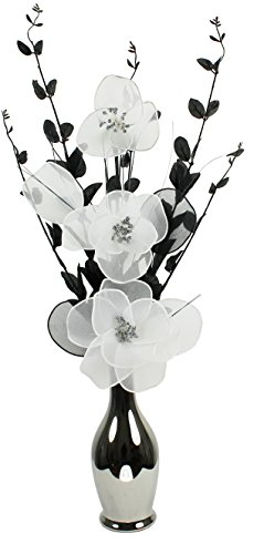 Flourish 796808 80 cm Tall Black/White Artificial Flower in Chrome/Silver/Metallic Vase by Flourish