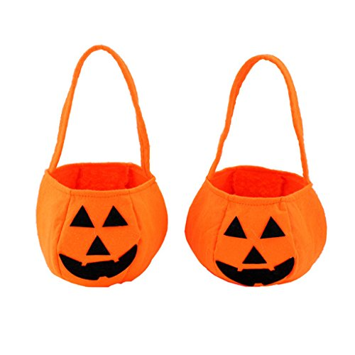 Flying Fish 2 PC Halloween Smile Pumpkin Bag Kids Candy Trick or Treat Bag Handbag Halloween Holiday ()