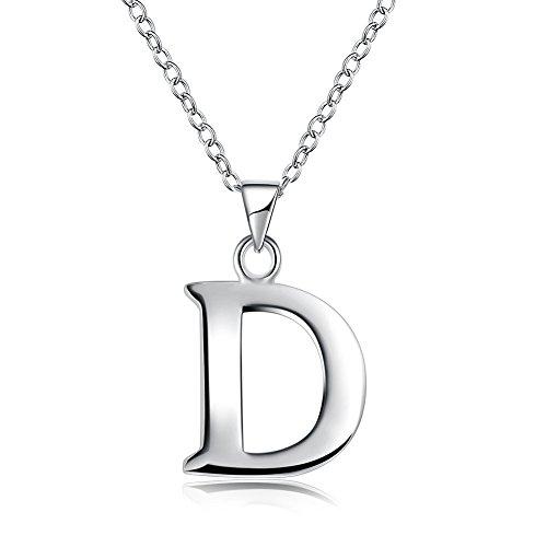 Initial Pendant Necklace 26 Letters Alphabet Personalized Charm Necklace Pendant (D)