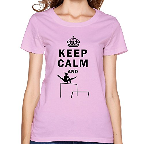 FQZX Women's Keep Calm Do Uneven Bars T Shirt Medium Pink]()