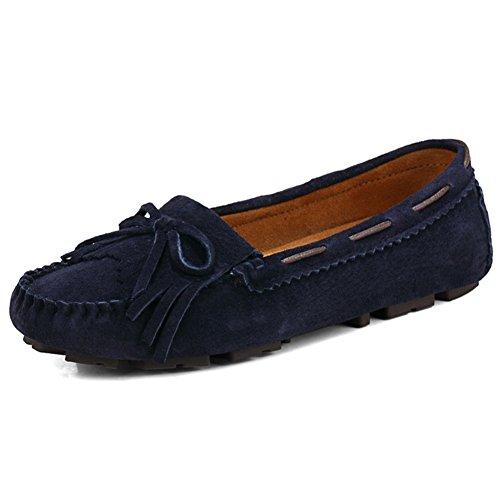 Damen Mokassins Slipper Flach Slip-On Wildleder Bequem Schuhe Halbschuhe Freizeit Einfache Chuhe Komfortschuhe Stil3-Dunkel Blau