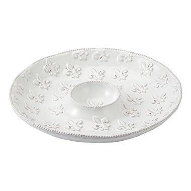 Mud Pie Fleur De Lis Chip N Dip, White