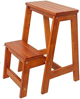 SONGTING Step stool Taburete Plegable de Dos peldaños Escalera Acabado de Grano de Madera Taburete liviano y portátil para Cocina Garaje Uso en el hogar Pedales Anchos Antideslizantes: Amazon.es: Hogar