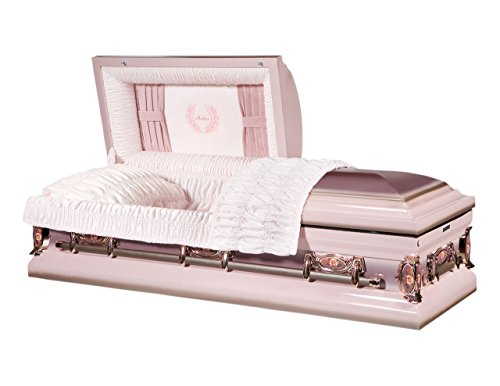 Overnight Caskets Mother Pink Finish With Light Pink Interior 18 Gauge Metal Casket - Coffin ()