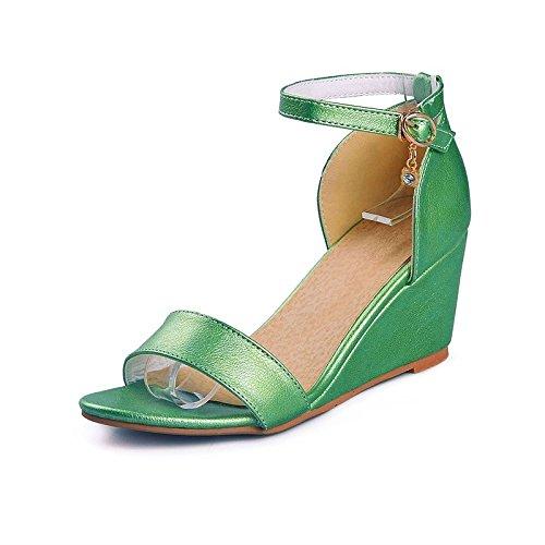 Verde Abierto US8 por UK6 Sandalias Rosa Tarde Rosa UE39 Verano Fucsia de Zapato Zapatos Dos de CN39 de Piezas Mujer Parte Polipiel de Cuña Tacón UAxp16Oqw