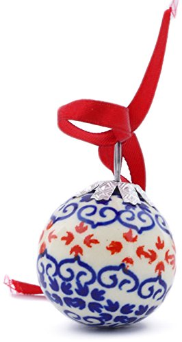 (Polish Pottery 2-inch Ornament Christmas Ball (Blue Heart Theme) + Certificate of Authenticity)