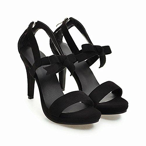 Carolbar Mujeres Evening Party Arcos Zip Open Toe Stilettos Vestido Sandalias Negro