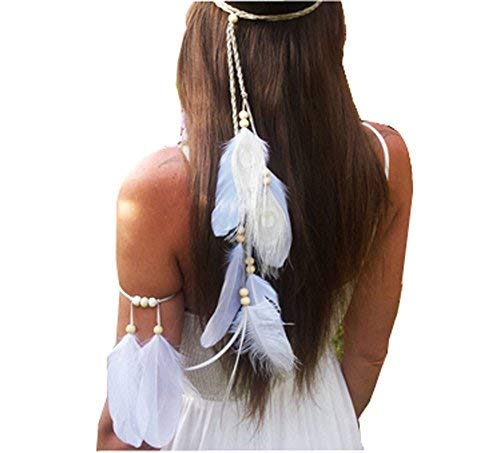 Set of 2 White Bohemian Feather Tassels Headband with Armband Gypsy Hippie Peacock Headwear Headdress Woman Favorite Hair Accessories