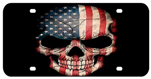 L18 AMERICAN FLAG SKULL License Plate Front Custom Novelty Tag Vanity Frame Holder Wrap Wraps