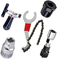 5 PCS Bicycle Repair Tools kit,Freewheel Removal Wrench + Sprocket Lockring Remover + Crank Puller Extractor +