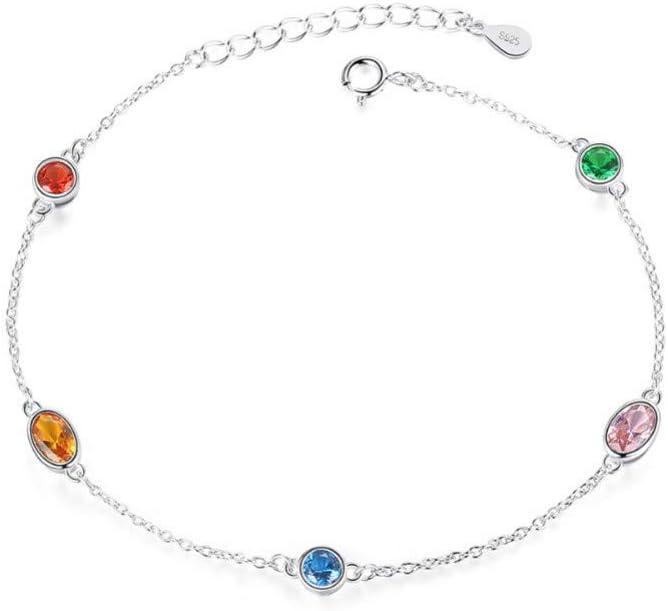 AGMKV 925 Cadena de Plata esterlina y Pulseras de eslabones para Mujeres Fiesta de joyería Fina Colorido Plata de topacio