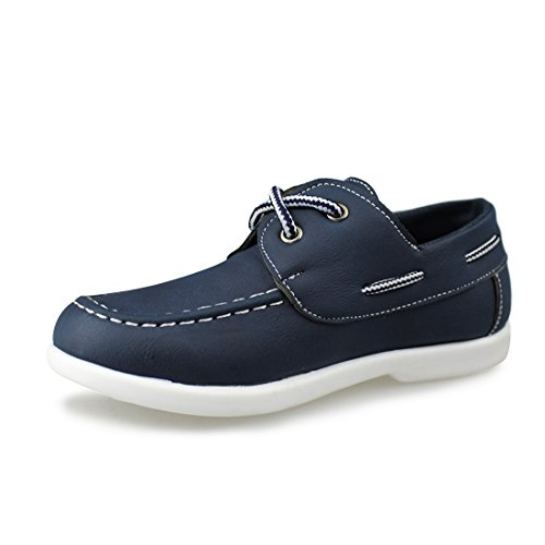 Hawkwell Kids Boys Loafers Casual Lace Up Boat Shoes(Toddler/Little Kid/Big Kid),Navy PU,13 M US ()