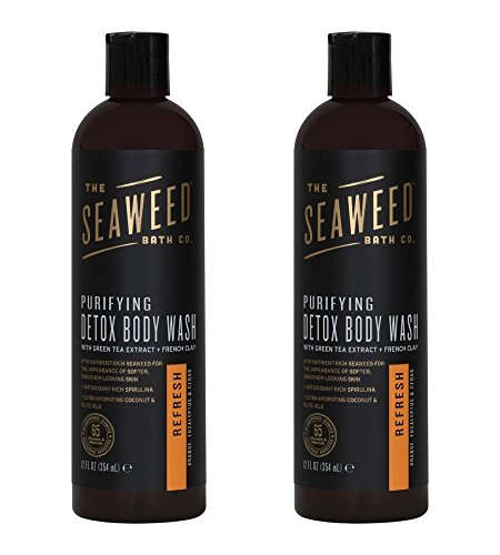 Seaweed Bath Co. Refresh Purifying Detox Body Wash (Pack of 2) with Organic Bladderwrack Seaweed Extract, Aloe Vera, Coconut Oil, Neem Oil, Blue Green Algae and French Green Clay, 12 fl. oz. (Aloe Gel Vera Seaweed)