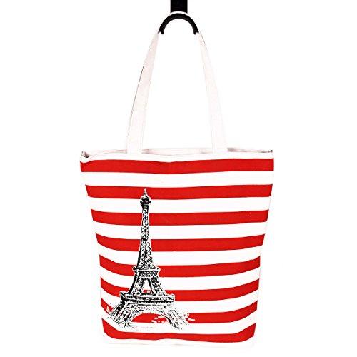 (Paris Eiffel Tower Striped Canvas Fabric Tote Shoulder Bag Handbag, Red)
