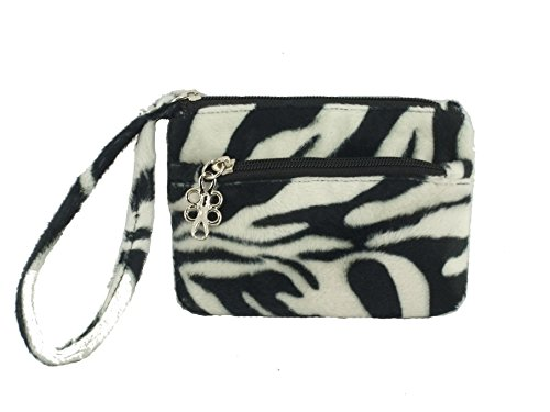 Fur Purse Zebra Womens Faux Bag Clutch LONI Wristlet n0Rq4xF