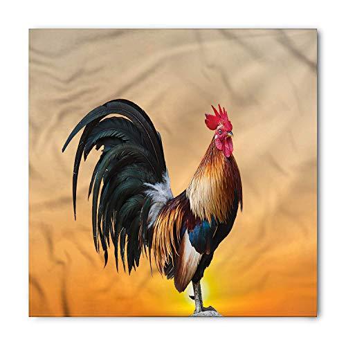 (Rooster Bandana, Farm Animal Sunrise, Unisex Head and Neck Tie)