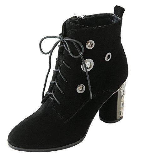 Heels Shoes Round Block Black Platform amp;X qin Women's CXQ Ankle Toe Short Boots High Boots wqOa8OxA