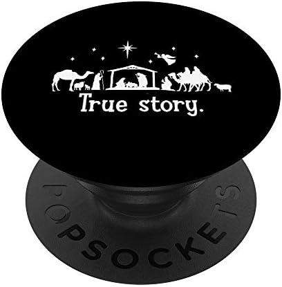 True Story Presepe di Natale Santo Gesù Presepe Religioso PopSockets PopGrip: Impugnatura per Telefoni Cellulari e Tablet Intercambiabile