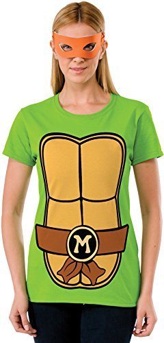 Rubie's Costume Teenage Mutant Ninja Turtles Top With Mask and Michelangelo, Green, X-large (Ninja Turtles Costume For Women)