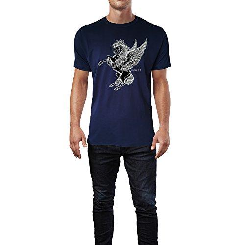 SINUS ART® Viktorianischer Pegasus im Tattoo Stil Herren T-Shirts in Navy Blau Fun Shirt mit tollen Aufdruck