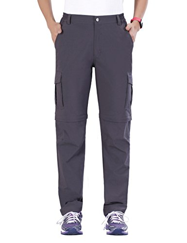 Nonwe Women's Water-Resistant Convertible Quick Dry Hiking Pants Gray M/29 Inseam