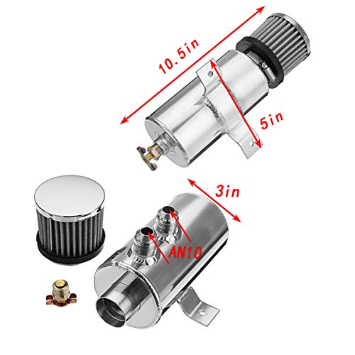 Soosee 0.75L Aluminum Baffled Oil Catch Can Breather Can Drain Valve W/Filter 2 Ports 10AN Oil Coolant Fuel Overflow Tank (Silver)