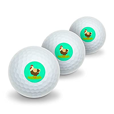 Chicken in Profile Novelty Golf Balls 3 Pack