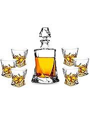 KANARS 7 Pezzi Bottiglie e Bicchieri whisky, Decanter da Whiskey Cristallo, 800ml Bottiglia con 6x 300ml Bicchieri, Bellissimo Regalo