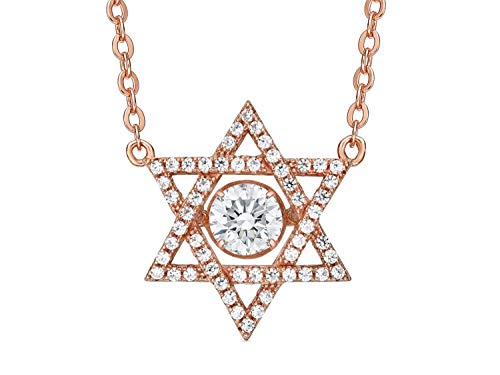 Central Diamond Center Nana Star of David Dancing Stone Sterling Silver & CZ with an 18