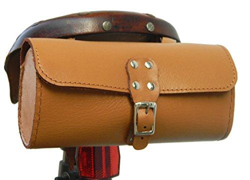 - Herte Genuine Leather Bicycle Saddle Bag Utility Tool Bag Tan