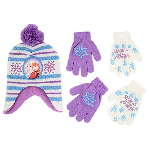 Disney Frozen Hat and 2 Pair Gloves/Mittens Cold Weather Set, Little Girls, 2-7 (White, Purple, Blue Design - Age 4-7 - Gloves ()
