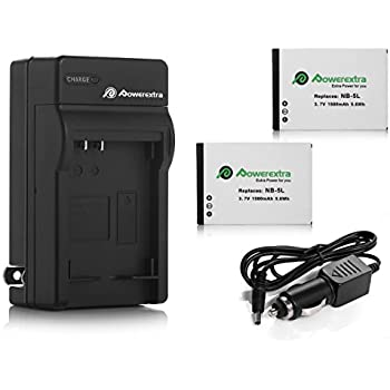 Powerextra 2 Pack Replacement Canon NB-5L Battery 1500mAh With Charger for Canon PowerShot S100, S110, SD790IS, SD850IS, SD870IS, SD880IS, SD890IS, SD970IS, SD990IS, SX200IS, SX210IS, SX220IS, SX230HS