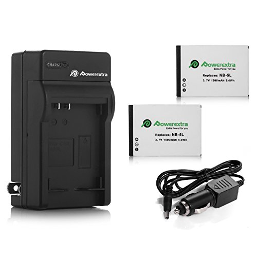 Powerextra 2 Pack Replacement Canon NB-5L Battery and Charger Compatible with Canon PowerShot S100, S110, SD790IS, SD850IS, SD870IS, SD880IS, SD890IS, SD970IS, SD990IS, SX200IS, SX210IS, SX220IS