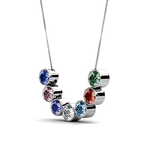 R-timer Swarovski Elements Crystal Necklace 7 Pcs Colors Pendants Set 18K White Gold Plated Necklace Enjoy 7-Day Different Life