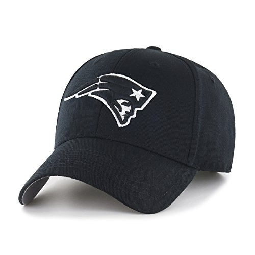 NFL New England Patriots OTS All-Star Adjustable Hat, Black & White, One Size