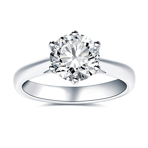2.0 Ct Moissanite Ring Diameter 8.0mm H-I Colorless Sterling Silver Engagement Rings By Van Rorsi&Mo by Swhitee