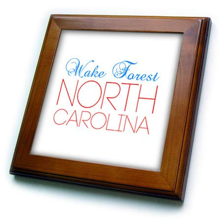 (3dRose Alexis Design - American Cities North Carolina - Wake Forest, North Carolina, red, Blue Text. Patriotic Home Town Gift - 8x8 Framed Tile (ft_303467_1) )