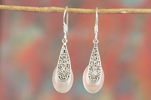 - Rose Quartz Earring, Drop Dangle Earring, Handmade Earring, Gypsy Earring, Boho Earring, Statement Earring, Bridal Earring, 925 Silver Earring, Mermaid Gift