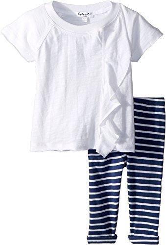 Splendid Littles Baby Girl's Stripe Leggings Set (Infant) Optic White 18-24 Months (Splendid Littles Leggings)