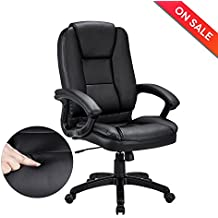 LCH Leather Office Chair - Executive Chair Swivel Desk Computer Task Chair with Padded Arms, Ergonomic Design for Back Lumbar Support,Black