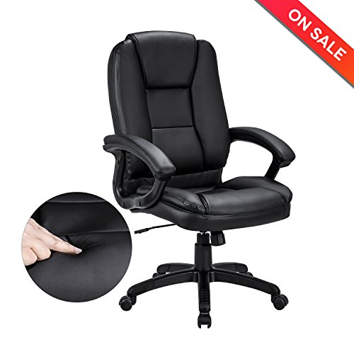 Ultimate Leather Executive Chair (LCH Leather Office Chair - Executive Chair Swivel Desk Computer Tack Chair with Padded Arms, Ergonomic Design for Back Lumbar Support,Black)