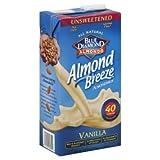 Blue Diamond Almond Breeze Unsweetened Vanilla 64 Oz (Pack of 8)