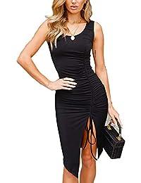 HIMNO Women's Black Dresses Elegant Crew Neck Sleeveless Bodycon Party Dress